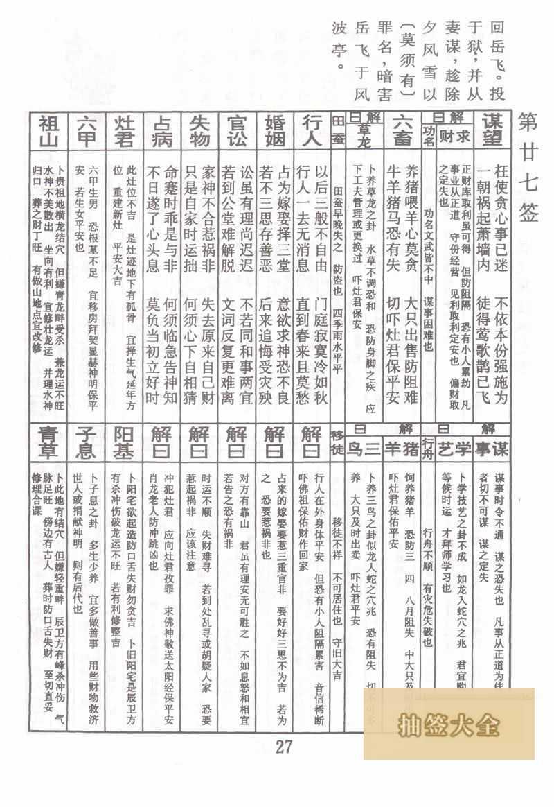 佛祖灵签 第27签:岳飞风波亭受害 中下签