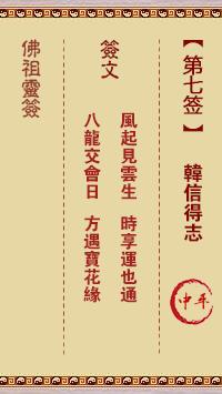 佛祖灵签 第7签:韩信得志 中平签